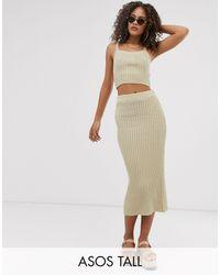 ASOS Asos Design Tall Co-ord Rib Knit Midi Skirt - Natural