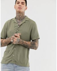 ASOS - Regular Fit Viscose Shirt In Khaki - Lyst