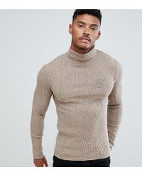 SIKSILK - Knitted Roll Neck Jumper In Camel Exclusive To Asos - Lyst