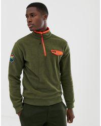 Polo Ralph Lauren Great Outdoors - Fleece Sweatshirt Met Contrasterende Rand En Korte Rits In Olijfgroen