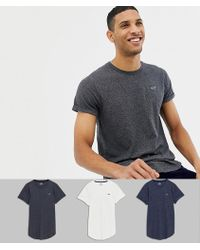 Hollister - 3 Pack Curved Hem T-shirt Seagull Logo In White/navy/gray - Lyst