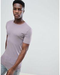 ASOS Lang Muscle-fit T-shirt Met Ronde Hals - Paars