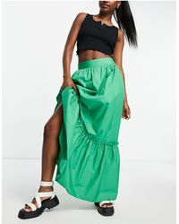 TOPSHOP Co-ord Linen Tiered Maxi Skirt - Green