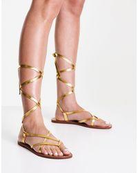 Pull&Bear Gladiator Sandals - Metallic
