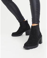 River Island Черные Ботинки Из Искусственной Замши Со Вставками На Массивном Каблуке -черный