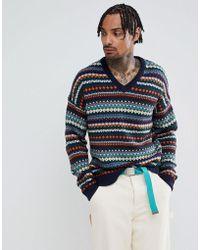 ASOS - V-neck Fairisle Sweater In Navy - Lyst