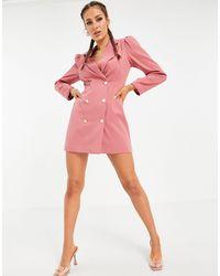UNIQUE21 Розовое Двубортное Платье-блейзер -розовый Цвет