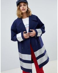 ASOS - Oversized Coat With Silver Strip - Lyst