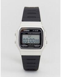 G-Shock - F91wm-7a Digital Silicone Strap Watch In Black/silver - Lyst
