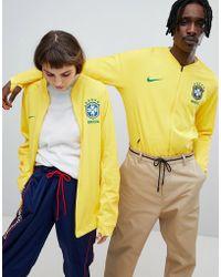 Nike - Nike Football Brazil Full Zip Track Jacket In Yellow 893584-749 - Lyst