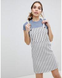 Monki - Stripe Dungaree Mini Dress - Lyst