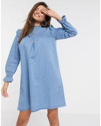 Warehouse Pintuck Shift Dress - Blue