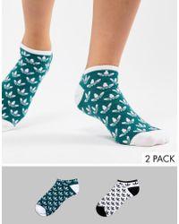 adidas Originals - Liner Sock 2 Pack In Logo Print - Lyst
