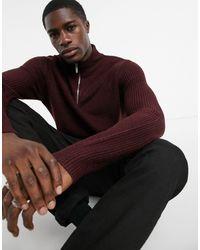 Burton Jersey en color burdeos con cuello con cremallera - Rojo