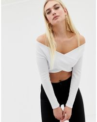 8d1ebbb4c8a94 ASOS Off Shoulder Plunge Front Long Sleeve Top In Rib in White - Lyst