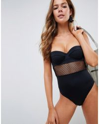 ASOS - Recycled Fishnet Insert Underwired Cupped Swimsuit In Black - Lyst