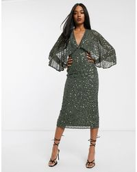 ASOS Vestido midi con lentejuelas dispersas y capa en las mangas estilo kimono - Verde