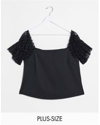 Simply Be Bardot Top With Dobby Mesh Sleeves - Black
