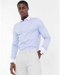 ASOS Slim-fit Net Overhemd Van Keperstof Met Textuur En Contrasterende Dubbele Manchetten - Blauw
