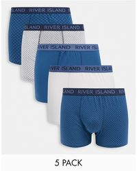River Island 5 Pack Trunks - Blue