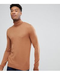 ASOS - Tall Cotton Roll Neck Jumper In Rust - Lyst