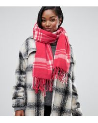 Miss Selfridge - Check Scarf In Pink - Lyst