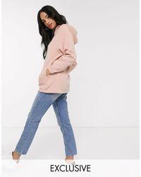 Micha Lounge Hoodie oversize à grandes poches et bordures contrastées en velours luxueux - Neutre