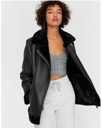 Stradivarius Long Faux-leather Aviator Jacket - Black