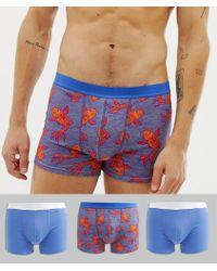 ASOS Pack de 3 calzoncillos con estampado de peces - Azul