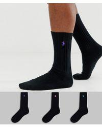 cheaper 08f06 73897 Confezione da 3 paia di calzini in cotone nero a coste con logo a contrasto