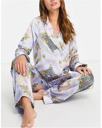 ASOS Pyjamaset Van Double Breasted Overhemd Met Broek - Blauw