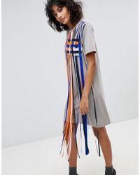2nd Day - Mayra Striped Tassle T-shirt Dress - Lyst