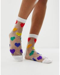 ASOS Sheer Heart Ankle Socks - Multicolour