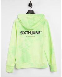 Sixth June Sudadera con capucha color lima extragrande lavada unisex con logo en el pecho - Verde