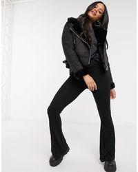 Stradivarius Aviator Jacket With Faux Fur Lining - Black