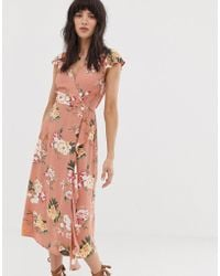208571041038 Band Of Gypsies - Tie Side Skater Dress In Green Floral Print - Lyst