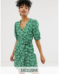 Monki Ditsy Floral Print Mini Tie Waist Shirt Dress - Green