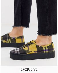 Monki Check Print Platform Plimsolls - Yellow