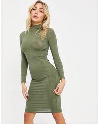 Flounce London Базовое Платье Цвета Хаки В Рубчик С Отворачивающимся Воротником И Длинными Рукавами -зеленый Цвет
