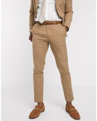 Moss Bros Moss London Slim Fit Suit Trousers - Natural