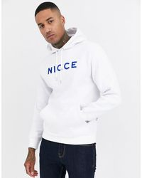 Nicce London - Sudadera blanca con capucha y logo en azul - Lyst