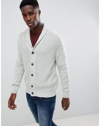 New Look - Cardigan With Shawl Neck In Light Grey - Lyst