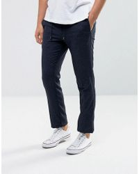 Tommy Hilfiger - Neppy Wool Joggers In Slim Fit Navy - Lyst