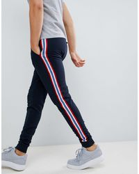ASOS Skinny sweatpants With Side Stripe Taping - Blue
