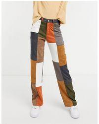 Jaded London – Jeans mit weitem Bein im Patchwork-Design, Kombiteil - Blau