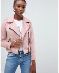 New Look - Suedette Biker Jacket In Pink - Lyst