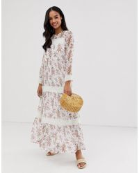 Y.A.S - Festival Floral Sheer Maxi Dress With Crochet Detail - Lyst
