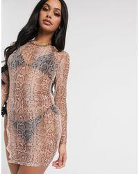South Beach Прозрачное Платье Мини С Вырезами На Бедрах -розовый