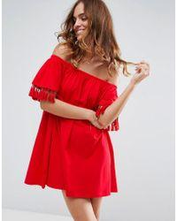 ASOS Off Shoulder Sundress With Tassel Detail - Red