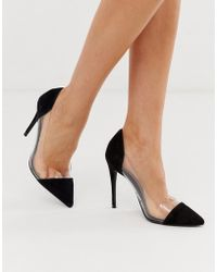 Steve Madden Clear Pointed Court Shoe In Black